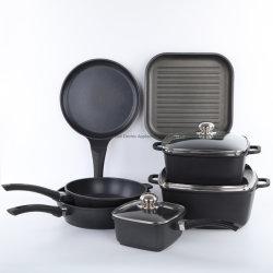 Aluminium moulé à 7 pcs ustensiles de cuisine Set, Grill Pan/Fry Pan/Soupière/lait Pot Non-Stick Set, ustensiles de cuisine