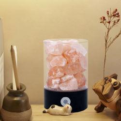 Venta caliente natural tallada en piedra elaborados por la noche la luz de la Base de madera rosa del Himalaya Lámpara de sal de roca cristalina con el interruptor atenuador