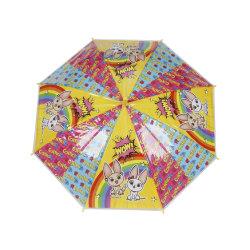 PVC يدوي ذراع مفتوحة مستقيمة مظلة أطفال المظلة J مقبض الوزن الخفيف