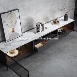 Mobiliário de fábrica de vidro porta do armário temperado Gaveta de madeira de pinho suporte de TV em mármore de carbono de Aço