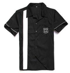 Kleidung-Weinlese-Bowlingspiel-Hemd-EntwerferMens der gestickten Männer des Weg-66 Retro
