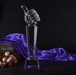N˚ 1 Polegar troféu de cristal Award para número um prémio
