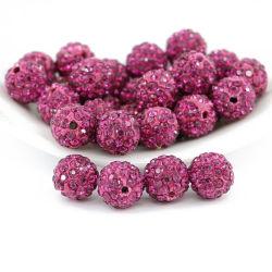 卸売16mmの宝石類の作成のためのフクシアによって着色される品質のShamballaのビード