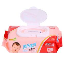 Het Niet-alkoholische Nat veegt Schoonmaken van de baby 80PCS met Plastic Deksel af