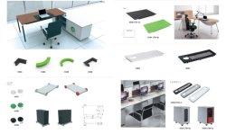 Acessórios de plástico para mobiliário de estação de trabalho da Mesa de escritório Modular System