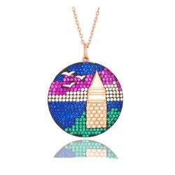 Type de bijoux et le sexe unisexe Bijoux en argent 925 Silver Collier Pendentif en pierre colorée charme Seagull