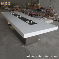 Reunión de mesa a la habitación de lujo inteligente diseño moderno mobiliario de oficina, sala de juntas de piedra de cuarzo de Corian blanco brillante superficie sólida sobre la encimera de mármol mesa