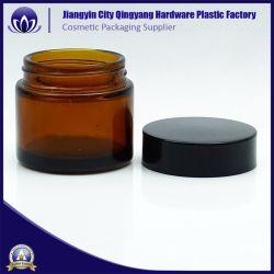 Comercio al por mayor de 30g de vidrio color ámbar claro tarro de crema de envases cosméticos de metal con tapa de plástico