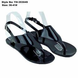 Eenvoudige Dames Dames Flat Clip Teen Zwart Pvc Sandaal