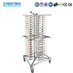 Heavybaoのステンレス鋼18層の皿の版及びファースト・フードの皿のための移動式版ラックトロリーカート