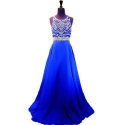 O partido azul do baile de finalistas de Rinestones veste o vestido de noite barato NF2017 da foto real Backless