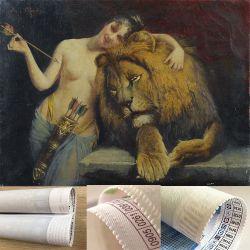 Chica desnuda de alta calidad y el león corto la pelusa de la pintura de Diamante Taladro completo