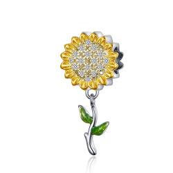 Cor de ouro de Girassol Prata Cordão de folhas para as mulheres bracelete de Prata