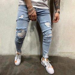 2020 высокого класса Ковбой Skinny Джинсовые брюки