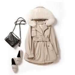 Die gesteppte Winter-Frauenfox-Haar-Pelz-Muffe Outwear Parka-weiße Ente-Samt-unten Umhüllung der Frauen