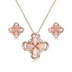 Moda da menina em forma de flor rosa Opal Cordão Conjunto de jóias