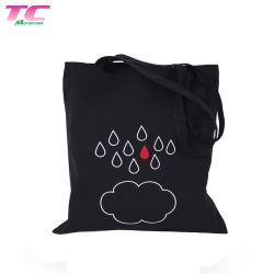Utilidad ecológica Negro Bolso de algodón personalizadas Playa Bolsa de compras