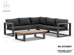 Armazón de aluminio de la esquina exterior salón sofá con mesa de madera de teca