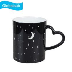 11oz 광택 색상 변경 Engraving Sublimation Blank Mug Blue Black