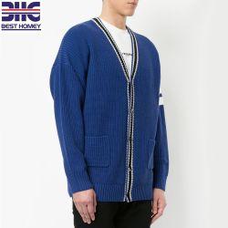 Cardigan a strisce del maglione del tasto del collo lavorati a maglia miscela classica del cotone V per i Mens