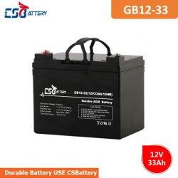 Csbattery 12V33ah AGM de Chumbo-Ácido VRLA recarregável Bateria para Portable-Power/Solar-Energy-armazenamento/Emergency-Light