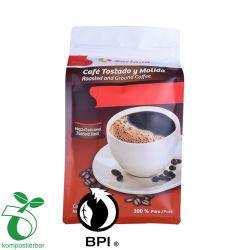 Material compostable laminado color café resellables Bolsa.