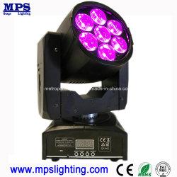 Освещения сцены Mini 7*12W RGBW LED перемещение головки блока цилиндров с зумом