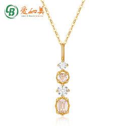 Verdadeiras jóias de ouro pendente para colar sólido Fino Ouro Branco pingente de cristal