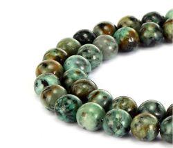自然なアフリカのトルコ石の宝石用原石のスムーズな円形の緩いビードは6mm 8mm 10mm 12mm 14mm宝石類のブレスレットおよびネックレスおよびいろいろな方法宝石類4mm作ることができる