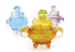 Los dioses de tres estrellas - Budismo Liuli cristal decorativo Casa Quemador de incienso incensario