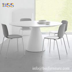 椅子の現代贅沢でスマートで小さい小型白く光沢度の高いCorianのアクリルの水晶石の大理石の牛もも肉の形の会議の机が付いているハイエンド円形の会議の机