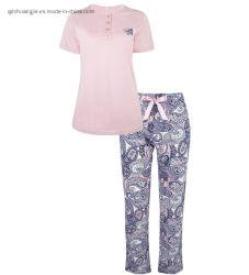 Ropa de Damas de las mujeres adultas suave de color sólido ecológico de toda la impresión de conjunto de homewear jersey de algodón Camiseta de manga corta pantalones pijamas dormir