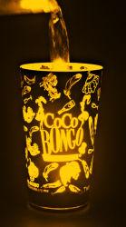 Activation de l'eau LED clignotant LED en plastique de la cuvette de bougies de tasses cadeau de promotion