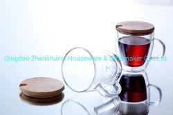 Taza de café de borosilicato hechas a mano con tapa de cristal