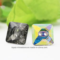 Forme carrée à coudre sur strass pierres fantaisie bouton carré pour les vêtements décoration (14*14mm)
