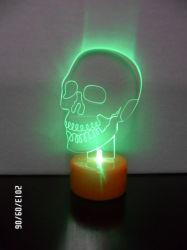Holloween LED 장식 조명 테이블 선물, 어두운 조명 아크릴 두개골