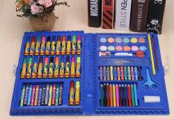 86 Pedaços de Pintura infantil Conjunto de oferta de artigos de papelaria definido para estudantes de Arte Caixa de papelaria, caneta de aquarela, Pincel,
