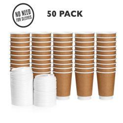 8oz 12oz 16oz jetable à chaud de gros seul les tasses de café en papier double paroi en verre avec couvercle et le manchon