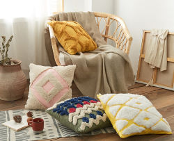 Handmade Funda de cojín 45x45cm cubierta de la Almohada Rosa amarillo mostaza Tufted Cojín para la decoración del hogar Salón Dormitorio