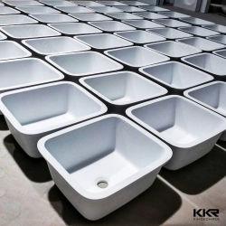 Акриловый Corian твердой поверхности белого Undermount угловой кухня поглотителей
