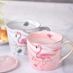 Europäisches Art-Marmor-Gold überzogene keramische Kaffeetasse-Schwarzer Tee-Cup mit Firmenzeichen-Zoll