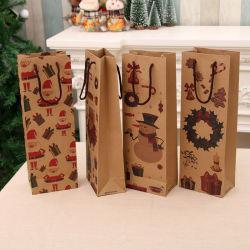 حقيبة ورق عيد الميلاد كرافت حقيبة نبيذ حمراء حقيبة قنينة نبيذ أصناف عيد الميلاد المنزلية