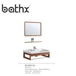 Estilo moderno mobiliário economizador de espaço de qualidade garantida Fancy Wall-Mounted casa de banho com lavatório vaidades armários de cor castanha