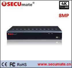 4CH Ultra HD 4K 8MP Ahd Tvi DVR avec alarme audio