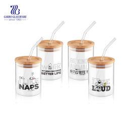 Borosilicat-Glas-Cup des Heißwasser-Eis-Saft-300ml mit Bambuskappe und Stroh (GB520040300-1-TH)