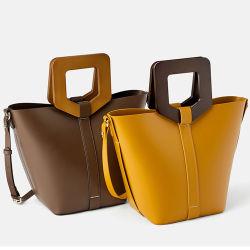 Kundenspezifische glatte lederne hölzerne Griff-Dame-Handbeutel-Frauen-Wannen-Handtasche