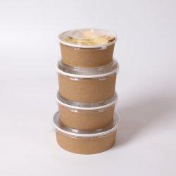 Castanho descartáveis de papel Kraft Taça de salada para tirar com tampa de plástico 500ml 750ml 1000ml 1100ml 1300ml 1500ml