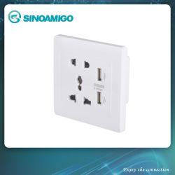 Контакт 3 переключателя на стену с несколькими Порт зарядного устройства USB