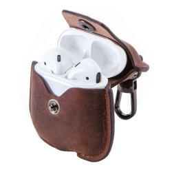 Metalltasten-Schliessen-Beutel-Kasten-echtes Leder-drahtloser Kopfhörer-Kasten