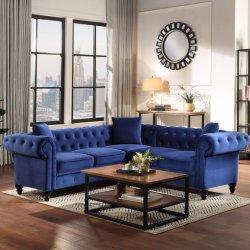 Estudo transversal de veludo tufados Sofá Estofados Amor Banco e 3 sofá de assento do braço do rolo Classic sofá Chesterfield Set 3 travesseiros incluído sofá de madeira